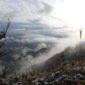 岡山、下蒜山、太陽と雲のドラマ