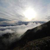 岡山。下蒜山、雲と太陽